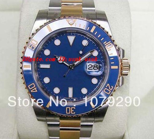 Najwyższej jakości luksusowe zegarki mody Oryginalne pudełko niebieski tarczy bełmorowa 116613 stal nierdzewna automatyczne męskie zegarki męskie zegarek