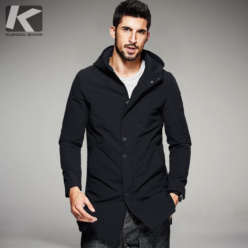Atacado- KUEGOU 2017 Primavera Mens Casual Trench preto com capuz Coats Marca Roupa do homem Magro Overcoat Masculino Windbreaker Plus Size 81