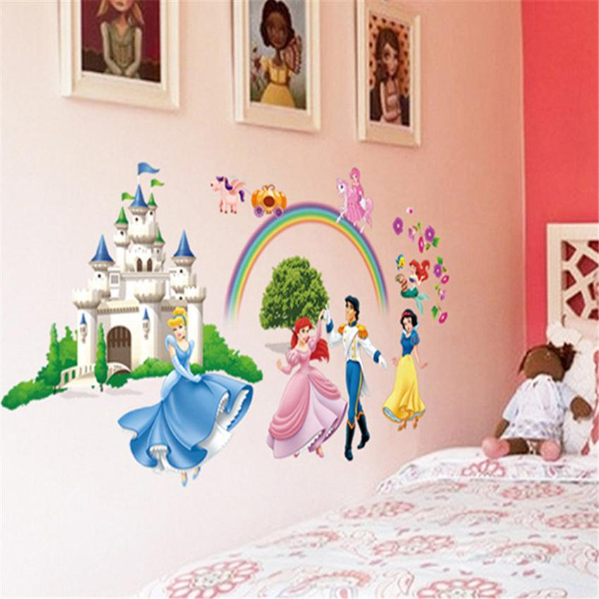 Children Bedroom Girl Princess Pink Style Wall Decals Stickers Rainbow Wall Sticker Decorative Stickers Wallpaper Home