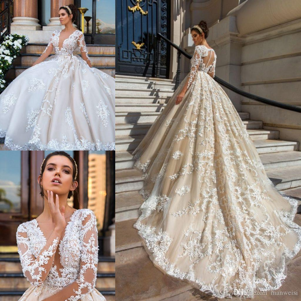 Luxury Long Sleeve Wedding Dresses Plunging Neckline Lace Applique ...
