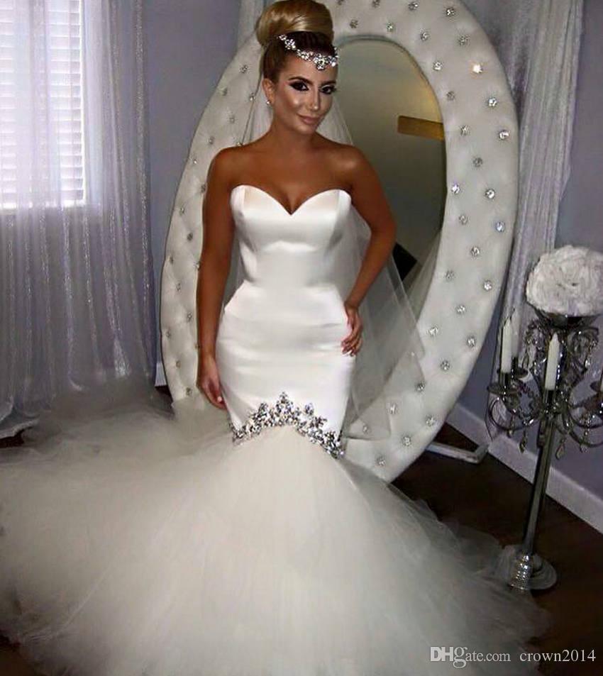 2021 Sweetheart 새틴 인어 웨딩 드레스 스파크 크리스탈 푹신한 얇은 얇은 명주 얇은 얇은 조용한 튜브 튜브 가운 맞춤형 vestidos de novia