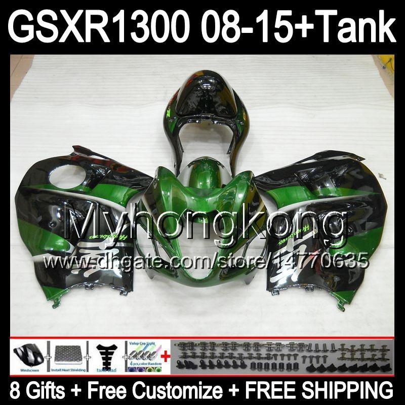 verde brillante 8gifts para SUZUKI Hayabusa GSXR1300 08 15 GSXR-1300 14MY143 GSXR 1300 GSX R1300 08 09 10 11 12 13 14 15 Carenado verde negro Kit