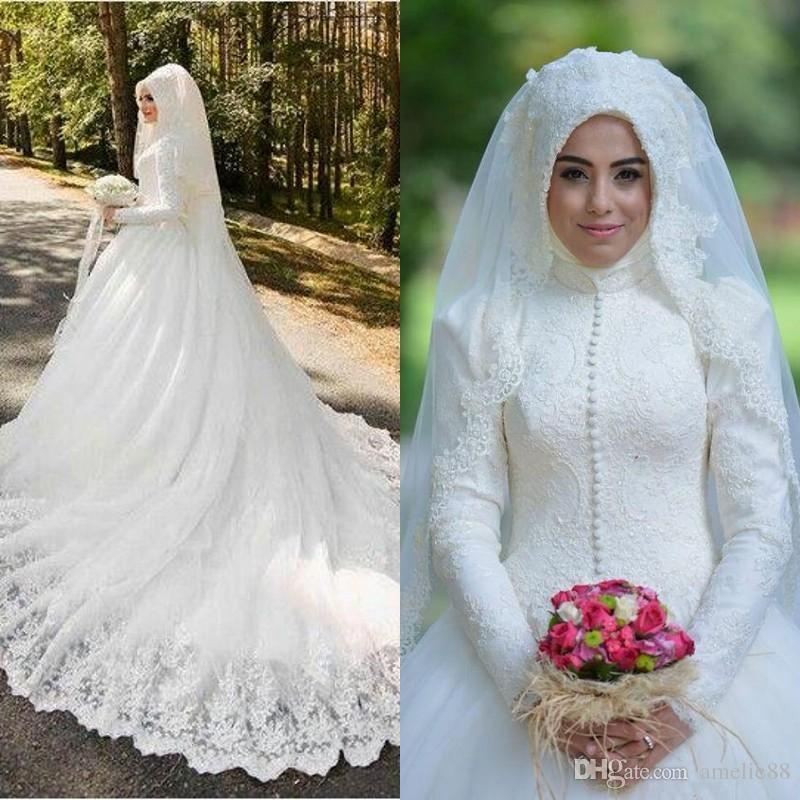 Muslim Wedding Dresses 2017 Latest Full Lace High Neck Long Sleeves Buttons Applique Chapel Bridal Gowns Arabic Islamic Custom Made Gold Wedding ...