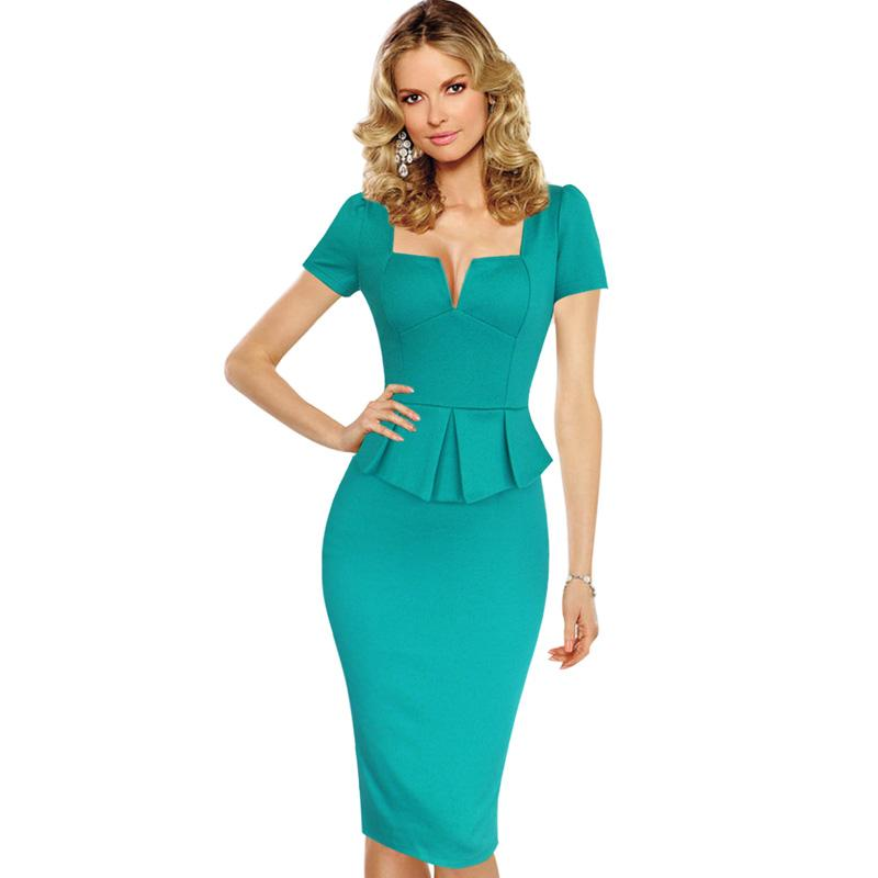 New Fashion Womens Summer Elegant Vintage Sexy Peplum Square Neck Tunic Slim Casual Fitted Bodycon Pencil Sheath Party Dress