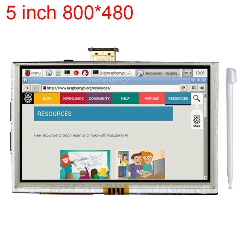 Freeshipping 5 inch Raspberry Pi 3 LCD Touch Screen HDMI Interface Display Module TFT LCD 800*480 for Raspberry Pi 2 model B/B+