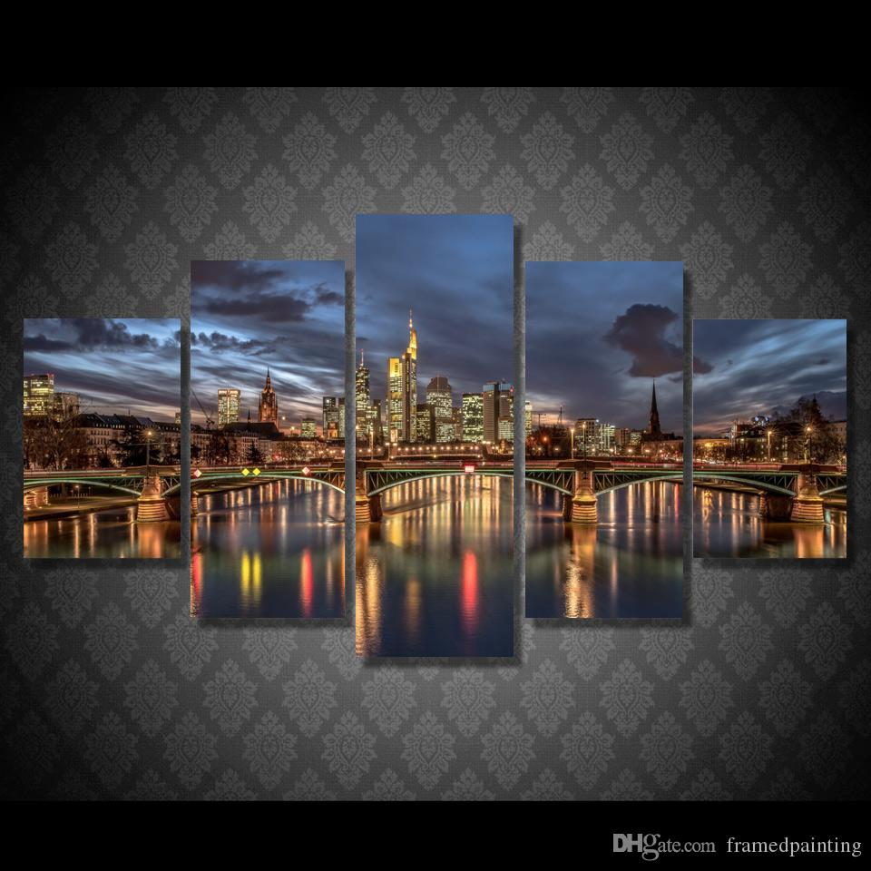 5 Pcs/Set Framed HD Printed London City Night Light Picture Wall Art Canvas Print Room Decor Poster Canvas Painting