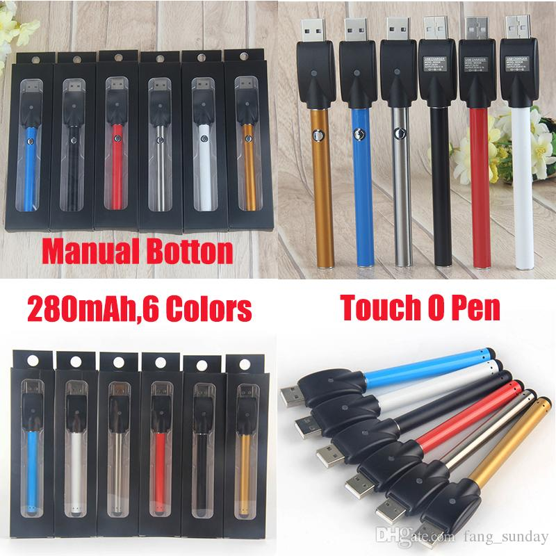 O-Pen Vape Bud Touch 280 mAh Manual Button Battery Stylus and USB Charger 510 Thread Vaporizer Pen Empty Wax Oil Cartridge