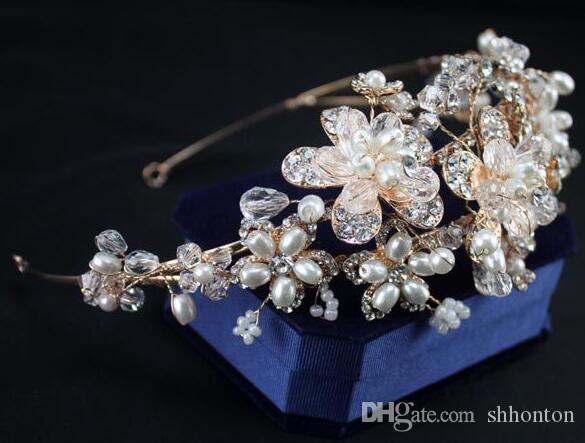 Bridal Jewelry Headpiece Imitation Pearl Hair Accessories Crystal Hair Band headbands Bridal Crown Tiara Wedding Jewl HT17