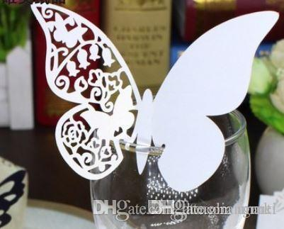 120pcs hallow Laser Cut Butterfly wedding Place Card hold on Wine Glass Card for Wedding Party Decoration #z110