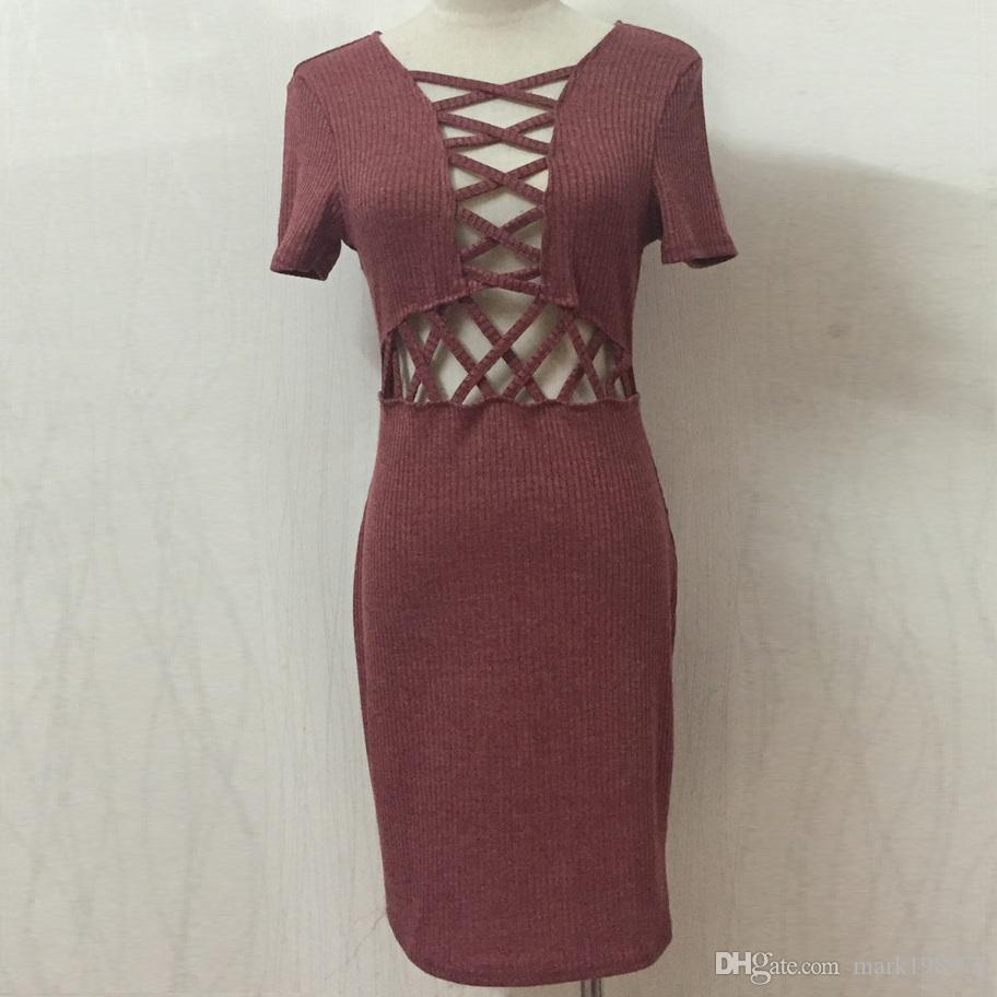 großhandel marke frauen sexy kleid 2017 neue mode lace up v ausschnitt  bleistift kleid kurzarm dünne minikleider strickkleider vestidos dr034 von