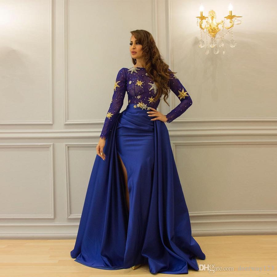 Kraliyet Mavi Seksi Yarıklar Abiye Uzun Kollu Lüks Süpürgelik Illusion Dantel Vestido De Festa Seksi Gelinlik Modelleri