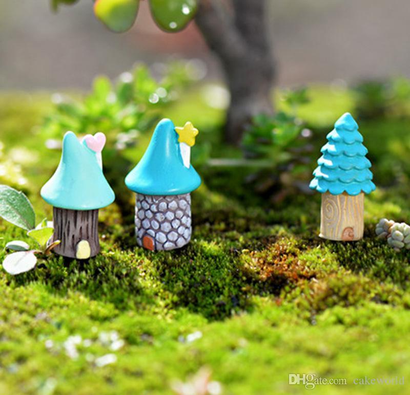 9 pz Cartoon tree house fairy garden miniature figurine mestiere della resina casa delle bambole bonsai decor terrarium jardin decoracion