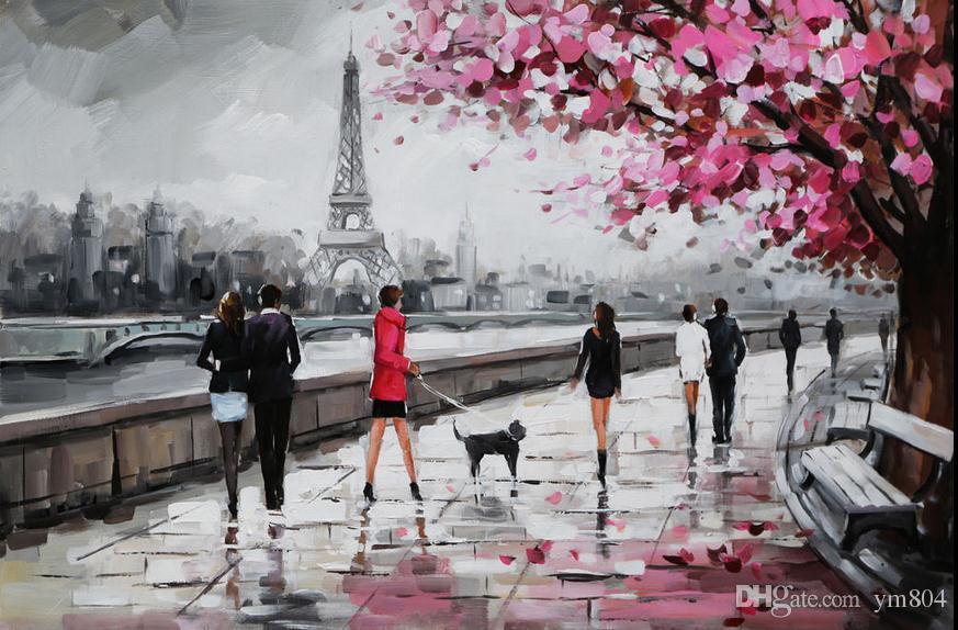 Paris Sokağı Eyfel Kulesi Sahne Handpainted Modern Duvar Dekor Soyut Sanat Yağlıboya Tuval Üzerine Çok Boyutları Mevcut ASM