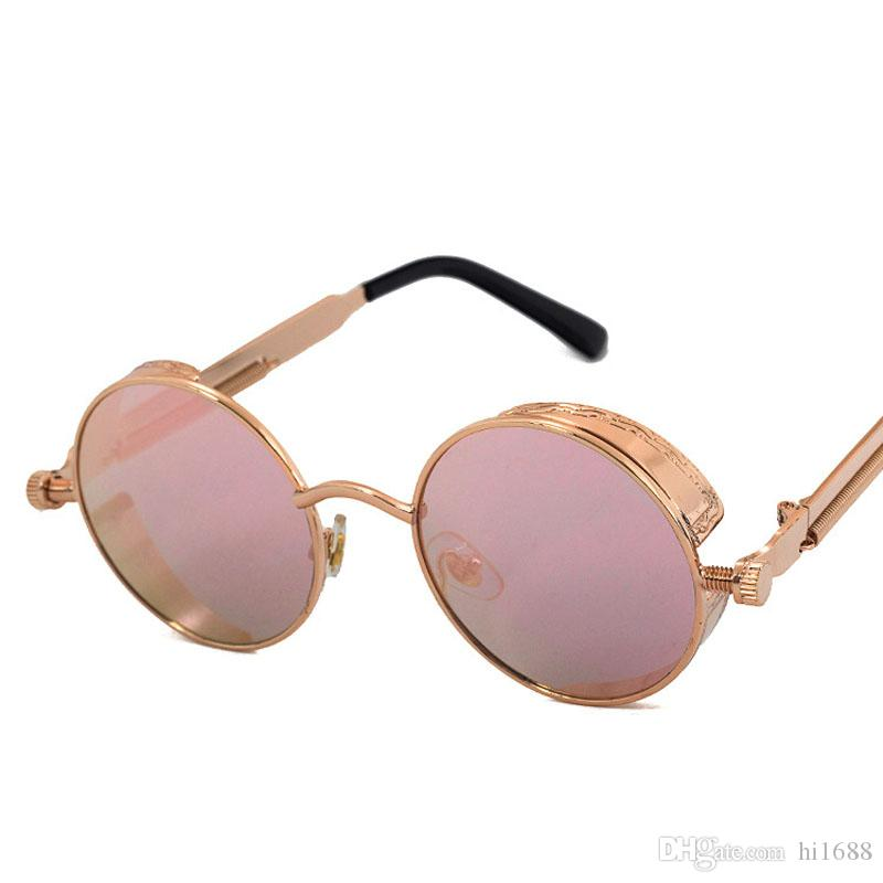 Sol Yüksek Retro Masculino Steampunk Yuvarlak Güneş Gözlüğü Vintage Aynalı Güneş Gözlüğü Erkek Daire Güneş Gözlükleri Gotik Kaplama UV400 Gafas Normal Etwe