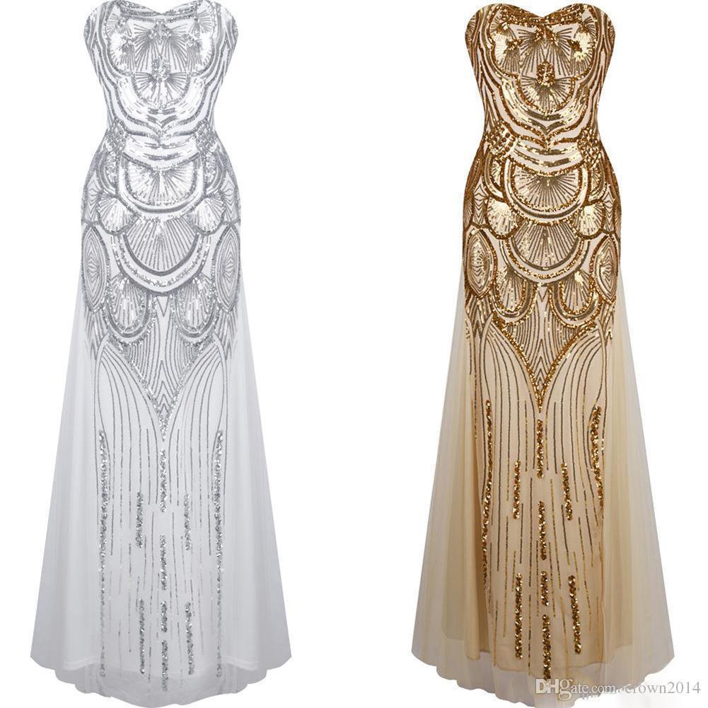 großhandel 2019 goldkleid lange pailletten abendkleider unter 50 schatz  elegante spitze up abschlussball kleid silber verband formal abendkleid