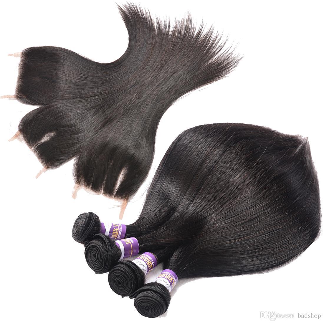 El cierre de encaje recto humano de la Virgen brasileña del pelo de cierre 9A paquetes con encaje Unproessed humano de la Virgen del pelo teje 3 paquetes con