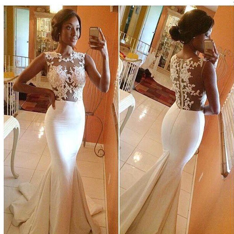 Gorgeous bianco lungo sirena vestito applique vestito da sposa in pizzo illusione top spiaggia abito da sposa trasparente sweep sweep sweep treno abiti convenzionali