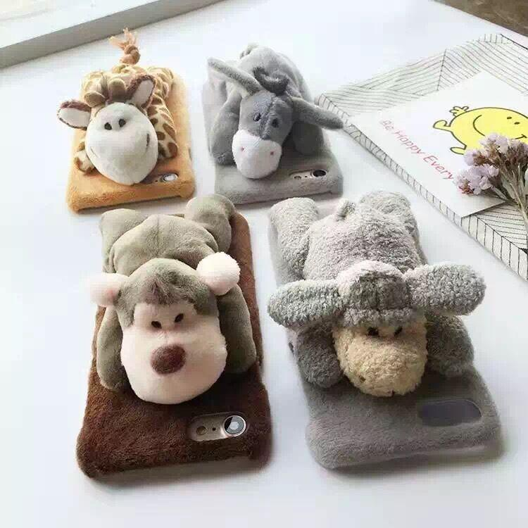 New Fashion Plush Toy Phone Shell for Iphone 6 6s 6plus 7 7plus Cartoon Cute Case Lovely Animal Giraffe Monkey Cover Cases