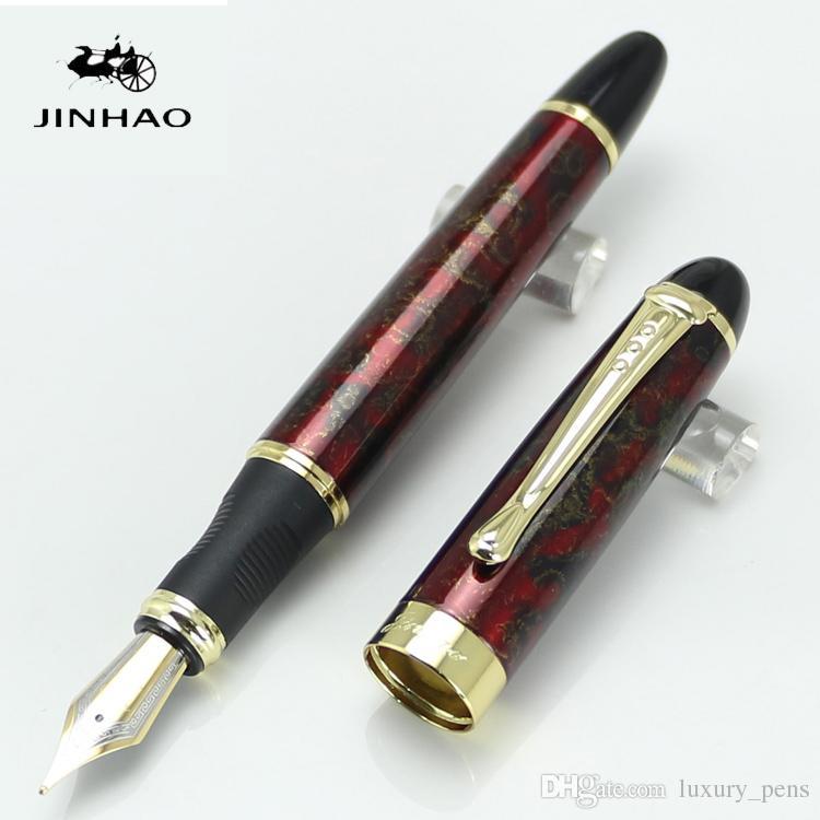 Neue Feine Rote Eis Medium Feder Füllfederhalter JINHAO X450