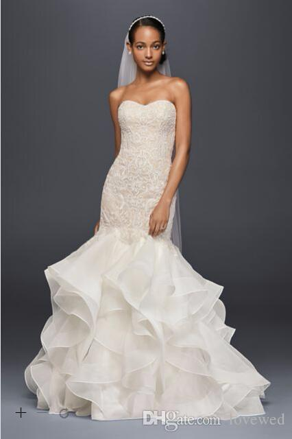 2017 Organza Mermaid Wedding Dresses Sweetheart Neckline With ...