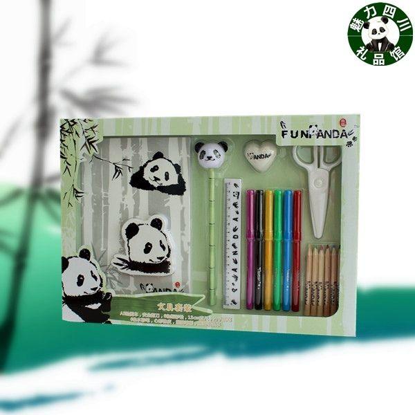 Set di cancelleria Panda, set di otto pezzi, 9 set di scatole regalo, souvenir del Sichuan, regali dall'estero, studenti