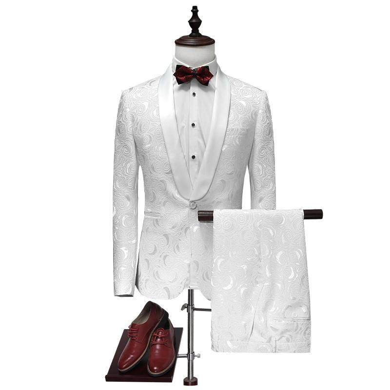 도매 - 재킷 + 바지 2017 고품질 패션 단일 버튼 흰색 결혼식 정장 남자, 캐주얼 남자 드레스 정장, 비즈니스 정장 블레이저
