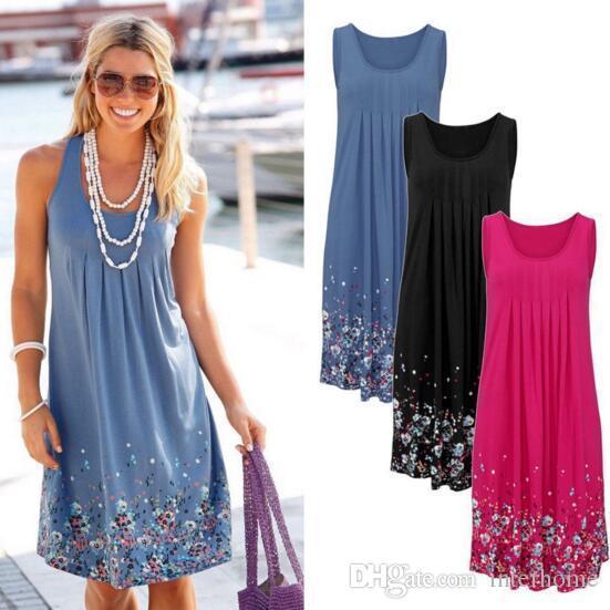 Цветочные печатных пляжные платья женщины Sexy-line Dress рукавов плиссированные сарафан женская мода жилет свободные плюс размер повседневная сарафаны H112