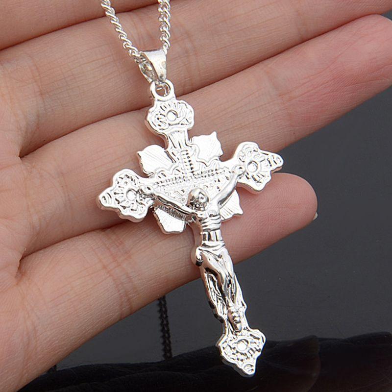 Toptan-2019 Yeni Moda Takı Gümüş İsa Çapraz Kolye Kolye Yılan Zincirleri Hıristiyan Gümüş Çapraz Charm Kolye