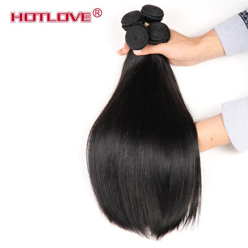 HOTLOVE Productos para el cabello Pelo virginal brasileño 3/4 Bundles Oferta sin procesar El cabello humano puede teñirse 8-28 pulgadas Sin derramamiento Sin enredo