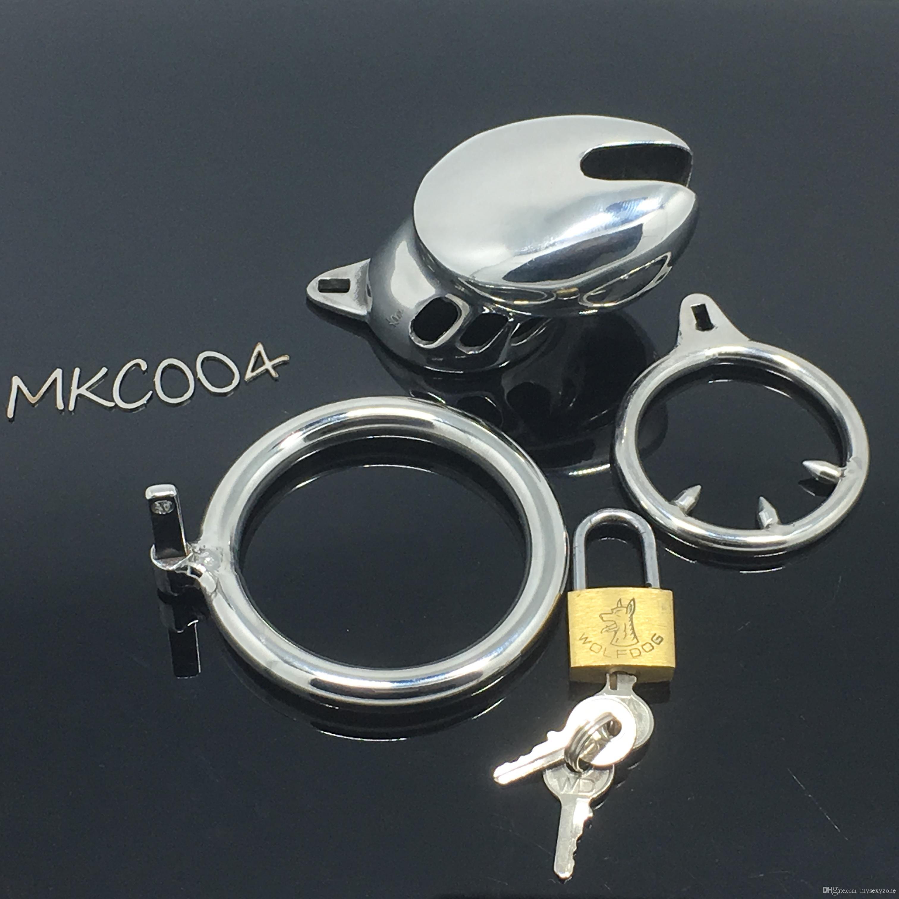 Acier inoxydable Super avec Chastité Homme Cock Prison Cock Curve Bird Curve Device Bague BDSM Adulte Cage Cage CB6000S Small MKC004 CUWSC