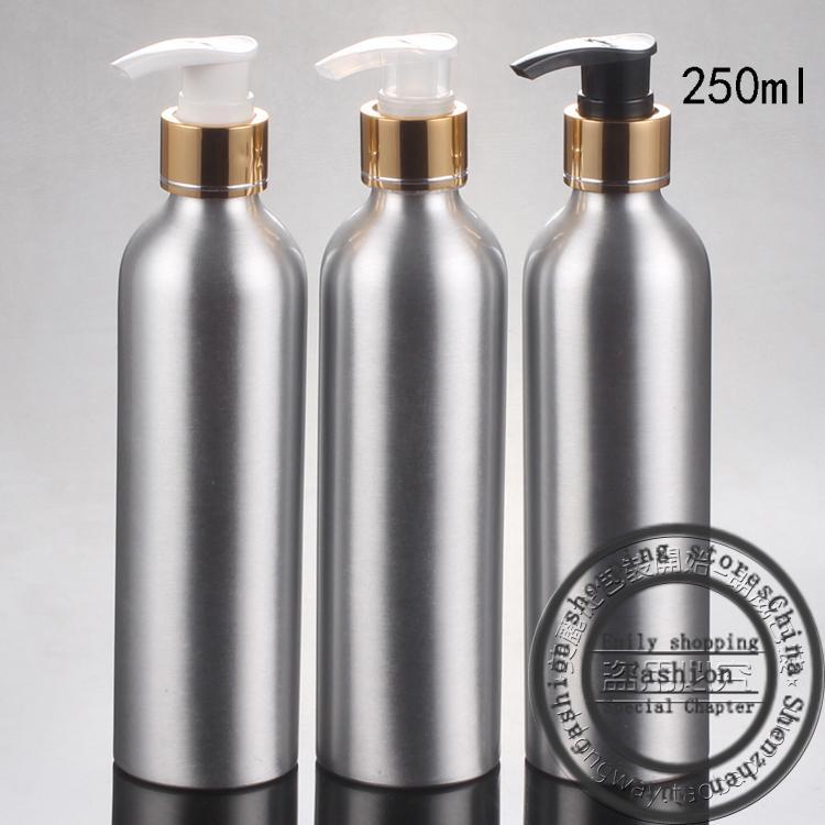 20pcs, 250ml алюминиевая бутылка + яркий золотой касательный винтовой насос, мини-бутылки для путешествий, косметическая упаковка, многоразовые бутылки