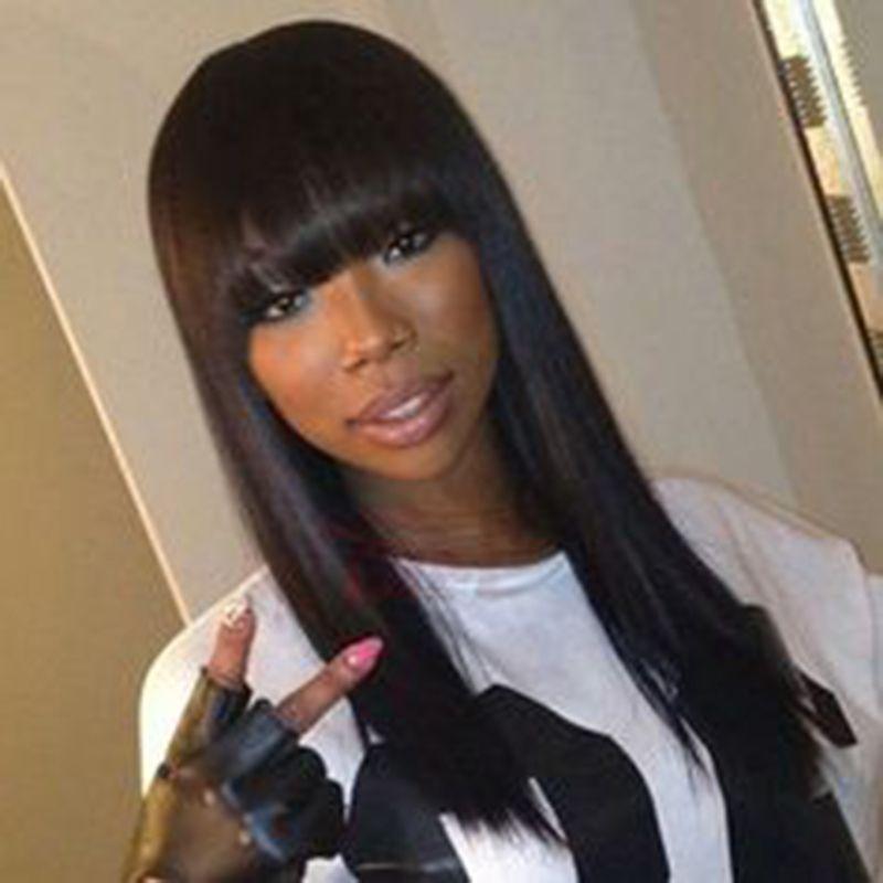 Vente chaude soyeux droite simulation cheveux humains longue droite perruques couleur naturelle pleine perruque avec pleine frange pour les femmes noires