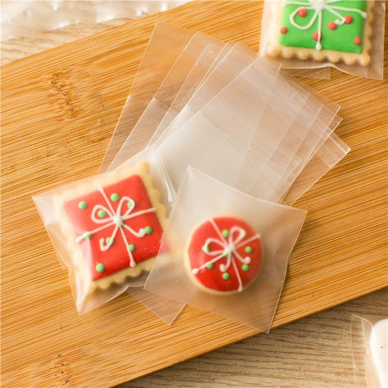 Wholesale Plastic Half Transparent Cellophane Candy Cookie Gift Bag Self Adhesive Pouch Wedding Birthday Party Gift Packaging