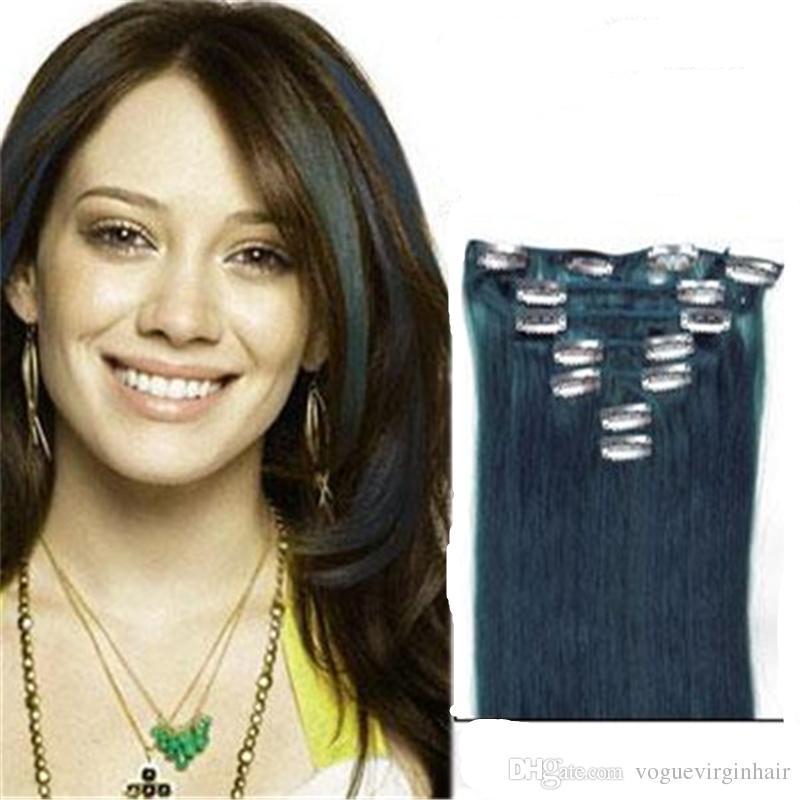 Clipe azul Em Extensões Do Cabelo 7 Piecese Set Clipe de Cabelo Humano Em Extensões Cheveux Clip On Cabelo Natural Cabelo Tic Tac