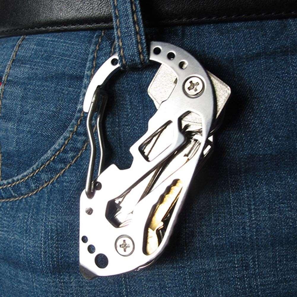 متعددة الوظائف edc أداة المقاوم للصدأ مفتاح حامل المنظم كليب مجلد كيرينغ المفاتيح حالة بقاء أداة السفر