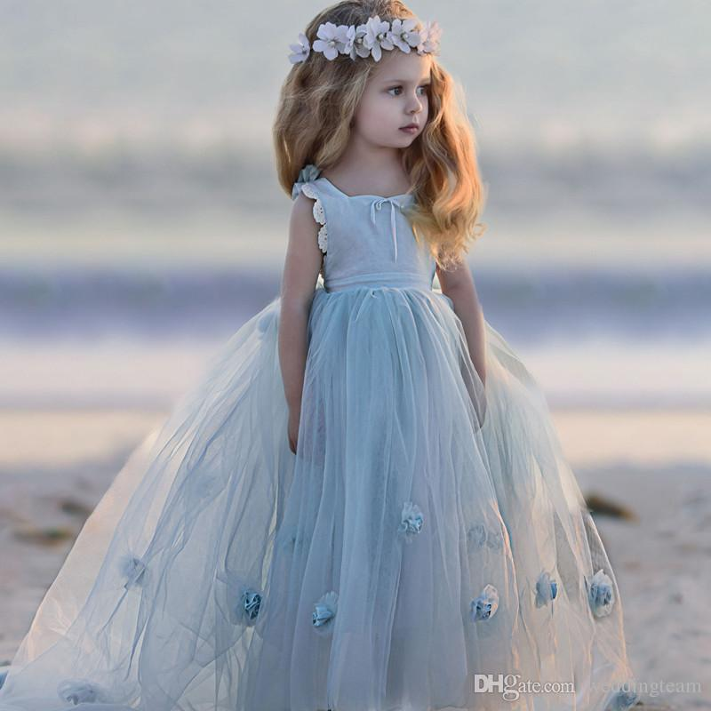 Lovely Baby Blue Princess High Low Flower Girls Dresses Spaghetti Strap Hand Flower First Communion Gown Tulle Pageant Dress For Children Australia