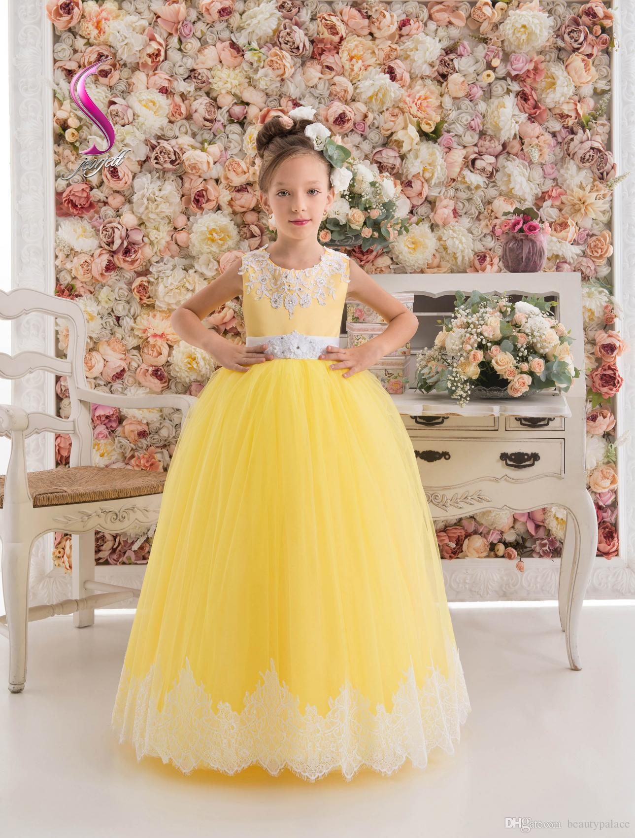 1a658ac36 Low Price Ball Gown Jewel Floor Length Yellow Tulle Flower Girl's Dresses  appliques Beaded Little Girl's Pageant Dresses With Lace