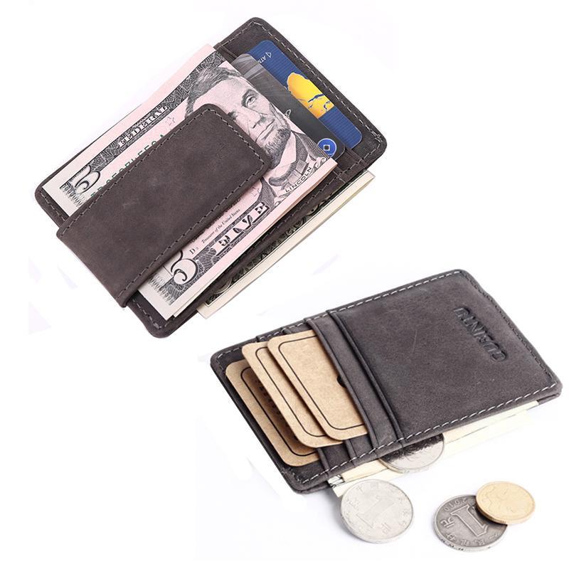 بالجملة، وصول جديدة خمر NUBUCK والجلود الرجال المال كليب المحفظة مع فتحات بطاقة بسيطة محفظة المغناطيس المشبك للذكور