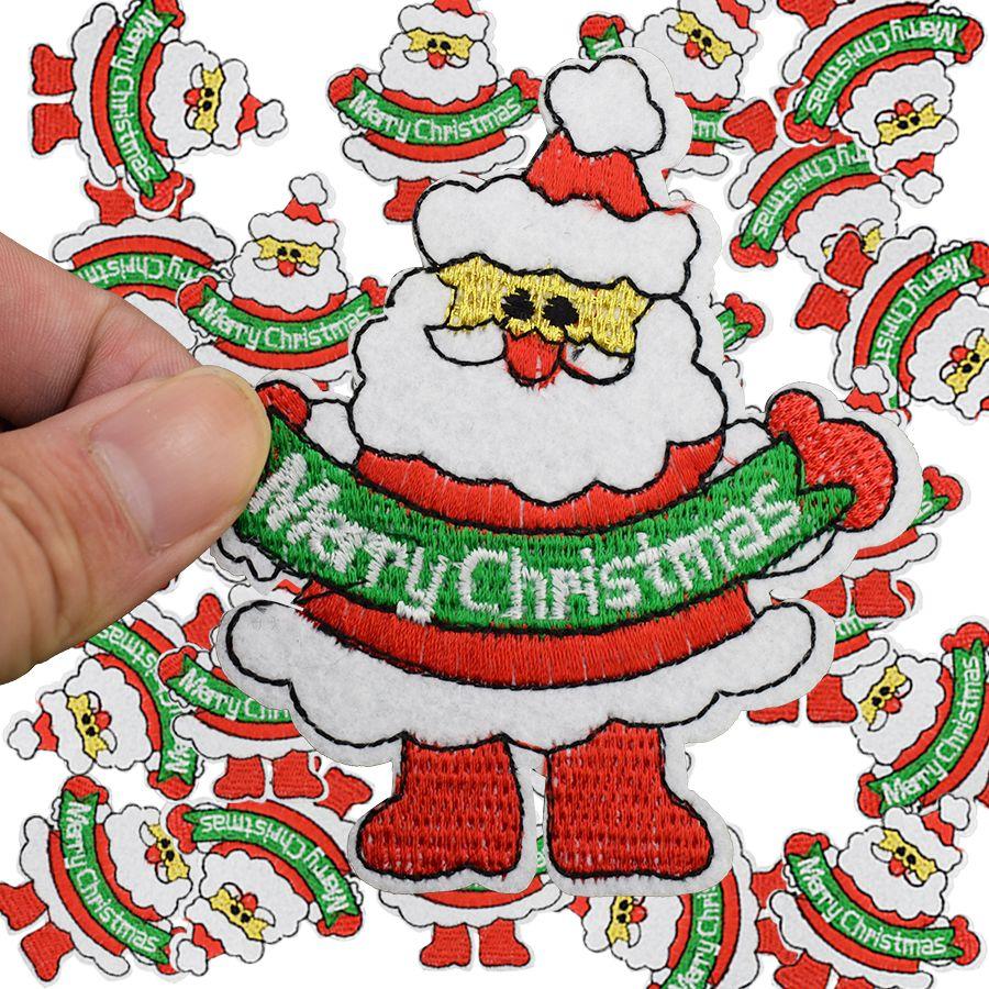 Diy pai natal patches para roupas de ferro bordado patch applique ferro em remendos acessórios de costura crachá adesivos