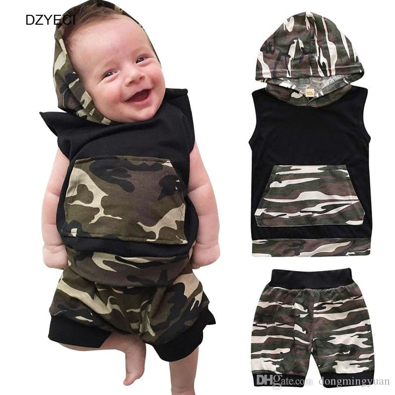 2pc Newborn Infant Baby Boy Clothes Camouflage T-shirt Tops+Pant Outfit Set