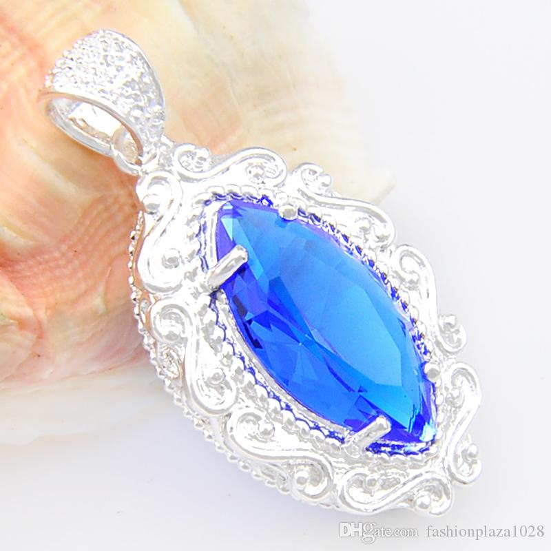 free shipping Valentine's day gift Fashion blue crystal stone Handmade Women jewelry Pendant with chain necklace tracking P0609