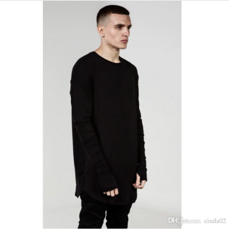a5b10acef9c7 Mens Hip Hop T Shirt full Long Sleeve T-Shirt With Thumb Hole Cuffs Tees  shirts Curve Hem Men Street Wear Tops
