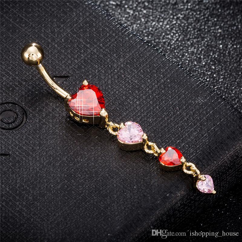 Donne Brand Body Jewelry Belly Bottone Anello 18K Giallo placcato oro cz 4 cuori Anello piercing all'ombelico per ragazze sexy BR-223