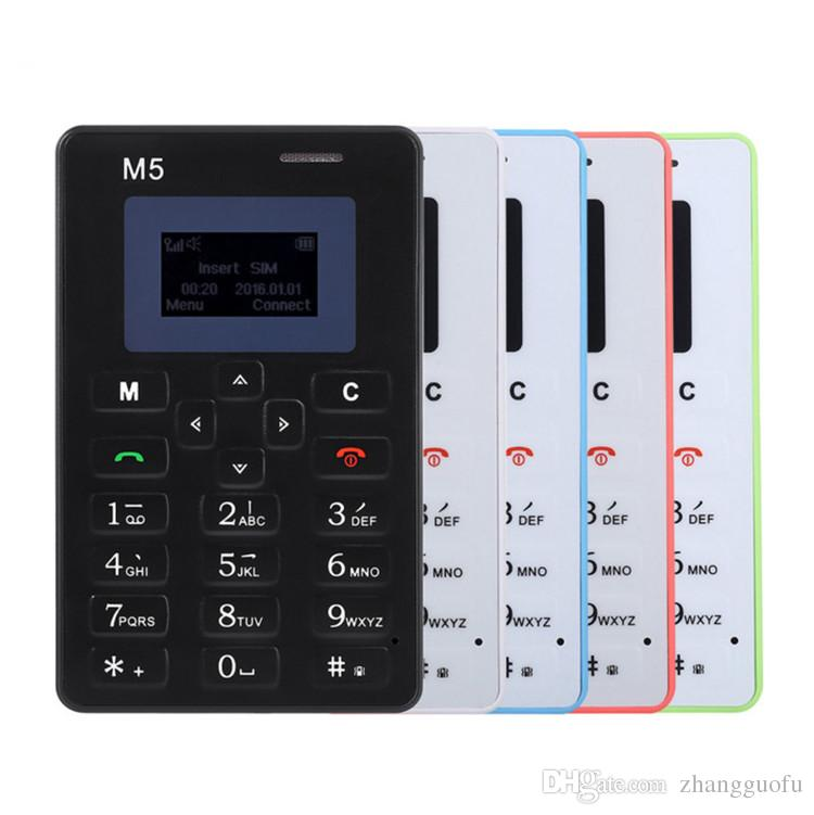 AEKU M5 Card Mobile Phone 4.8mm Ultra Thin Pocket Mini Phone Low Radiation Positioning Micro SIM Support Bluetooth Child Mobile Phone