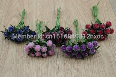 Wholesale-12pcs piccole bacche di fiori artificiali rosso ciliegia stame perlato di simulazione di nozze di vetro decorazione di melograno articoli