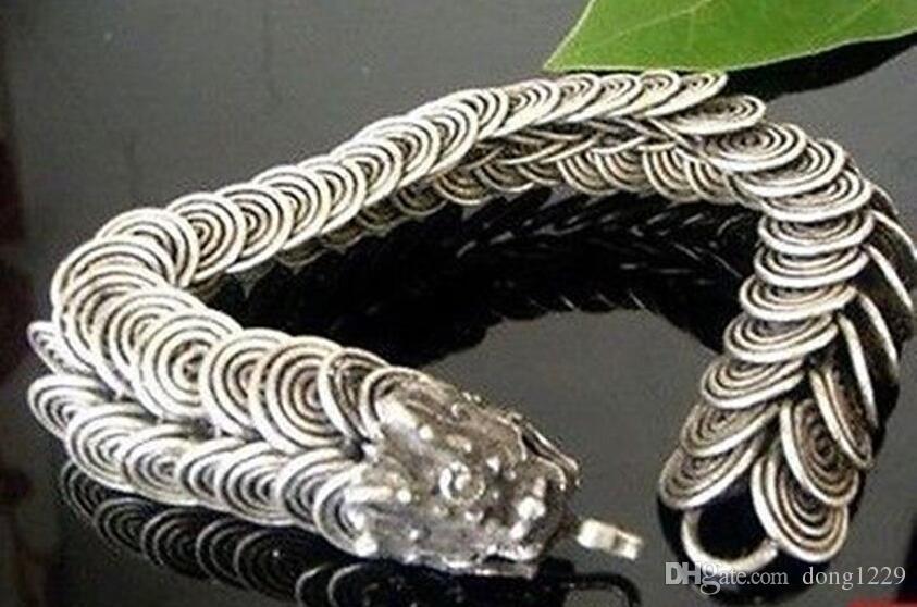 Braccialetti di gioielli da uomo in argento fatti a mano in argento tribale con drago