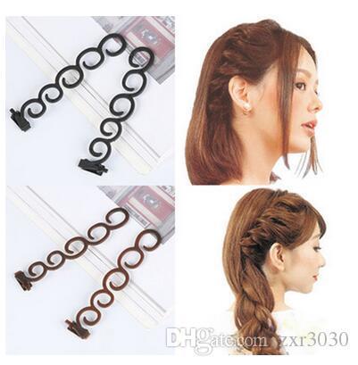 2Pcs/set styling tool hair curler Hair Braiding Tool Braider Roller Hook With Twist Styling Bun Maker Hair Band Accessories