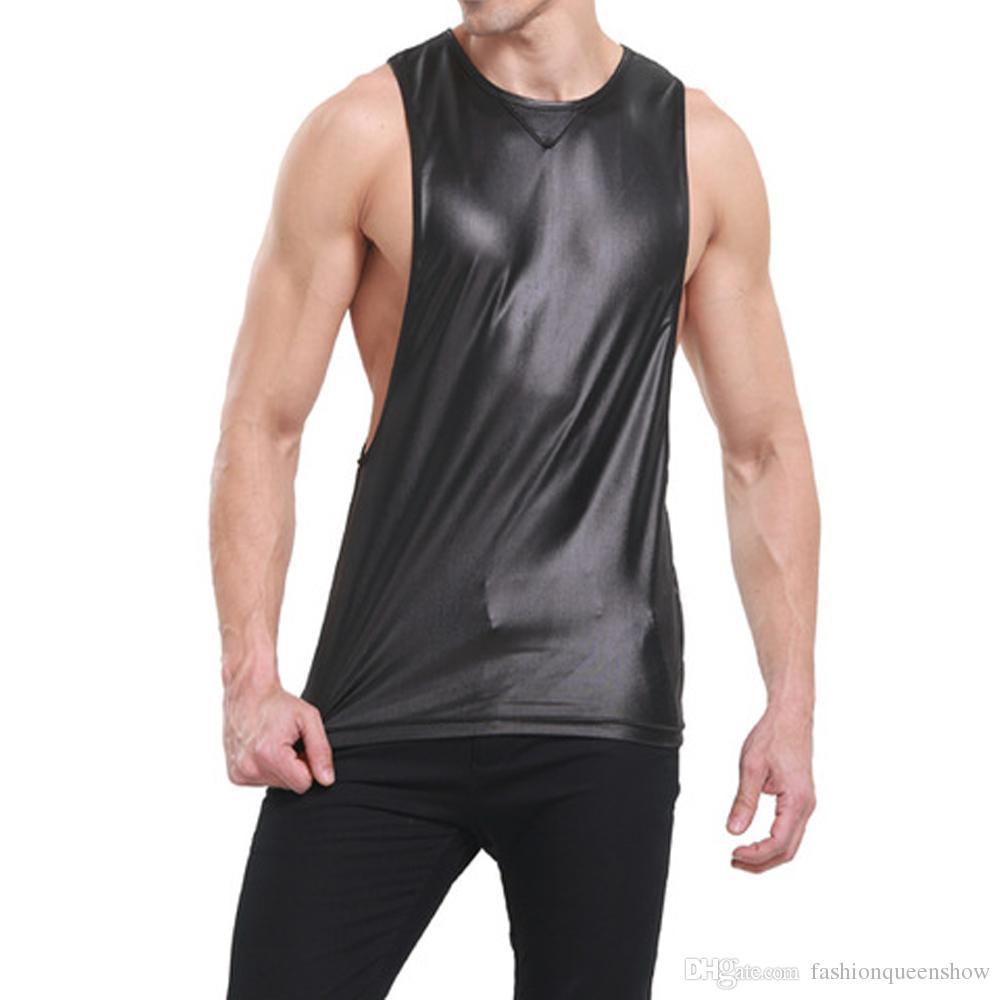 Rahat Kırmızı Siyah Renk Tankı Üstleri Erkekler Suni Deri Atlet T-shirt Boxer Kolsuz Derin Zırh Yelek