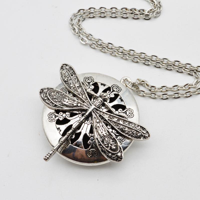 5 piezas de medallones de diseño de libélula Vintage difusor de aceite esencial collar de aromaterapia medallón colgante collar llamativo joyería regalo de Navidad