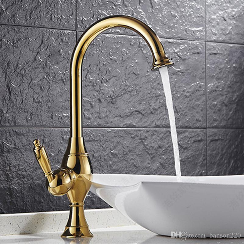 Free shipping Creativity golden kitchen mixer tap with single handle brass kitchen sink mixer tap of hot cold kitchen water tap
